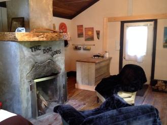 Fireplace and mini-kitchen